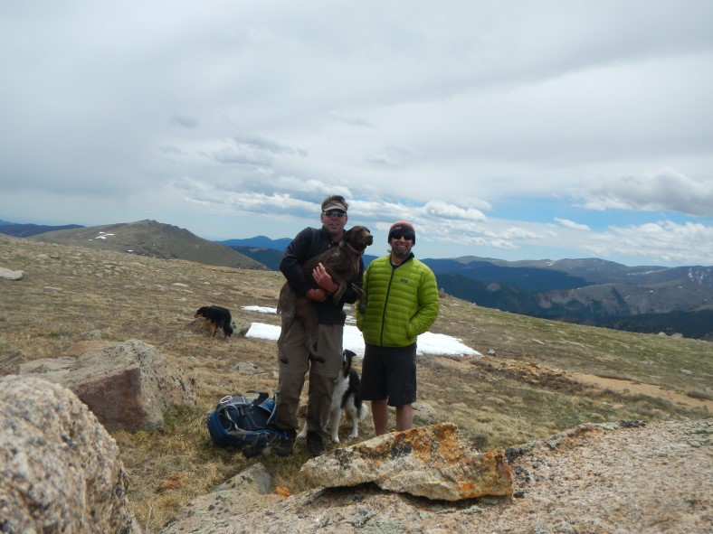 """Our official """"team"""" summit picture. It's tough to get all 3 pups in the shot!"""